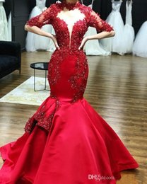 beaded half prom dress 2019 - 2019 Red Satin High Neck Lace Appliques Mermaid Prom Dresses Half Sleeves Beaded Formal Evening Gowns Formal Party Dress