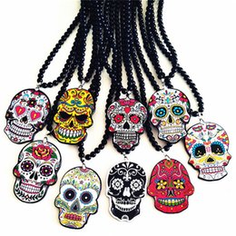 day dead pendants Australia - HOT Whimsical Hip Hop Skull Pendant Celebrate Mexican Day of the Dead Halloween Acrylic Sugar Long Bead Chain Skull MEN Necklace