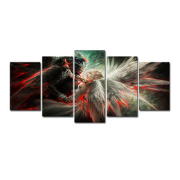 Angels Figures Australia - 5 Pcs for One Set HD Angels and Demons Love Pattern Unframed Canvas Painting Wall Decoration Printed Oil Painting poster
