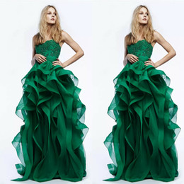 Sexy red peacock prom dreSS online shopping - Glamorous Spring Prom Dresses Peacock Green Lace Applique Beads Evening Gowns Floor Length Irregularity Ruffle Formal Dress