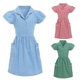 $enCountryForm.capitalKeyWord Australia - Fashsiualy Girls Children Plaid Dress Clothing Kids Gingham Girl Princess Turndown Lace Plaid Check Pocket School Dress Outfits