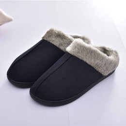 Discount winter wear shoes - House slippers for men Winter Warm Suede Velvet Indoor shoes male Non slip Wear resistant Flat with Comfortable men slip