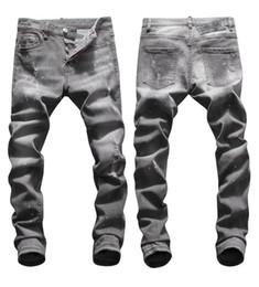 Grey jeans slim fit online shopping - Tops Mens Ripped Washed Grey Jeans Fashion Designer Slim Fit Low Waist Biker Denim Pants Hip Hop Trousers NJ8042