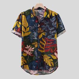 $enCountryForm.capitalKeyWord Australia - Summer Mens shirt Streetwear Short Sleeve Male Shirts Hawaiian Printing Ethnic Casual Cotton Linen Blouse Tops Camisa masculina