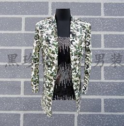 Costumes for singers online shopping - Men Suits Designs Camouflage medium long Stage Costumes For Singers Men Sequin Blazer Dance Clothes Jacket Style Dress