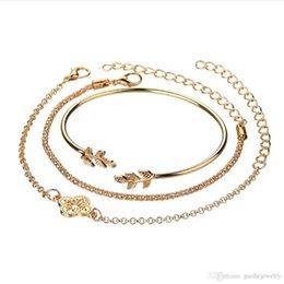 Fashion Bracelets Flower Design Australia - Manufacturers wholesale fashion popular new design women's cute leaves bracelet openwork flower bracelet set free shipping