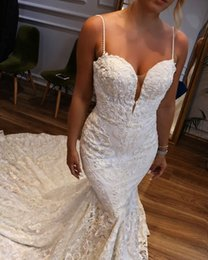 Lace mermaid taiL wedding dresses online shopping - 2019 Mermaid Long Tail Full Lace Wedding Dresses Sheer Neck Straghetti Zipper Back Beach Wedding Gowns for Bride