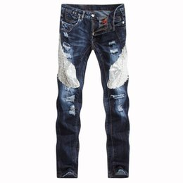 wing jeans UK - Wing Sequin Jeans 2018 Spring Hip Hop Straight Jeans Homme Mens Denim Streetwear Trousers Skinny Men Pants