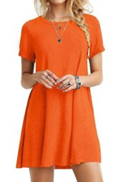 American Occasion Dresses Australia - European and American classic casual women's solid color short-sleeved simple T-shirt loose wild dress for all occasion