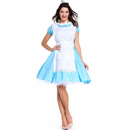 Adult Anime Games Australia - Adult Women Sexy Halloween Party Alice in Wonderland Blue Maid Costume Cosplay Anime Maid Game Uniform