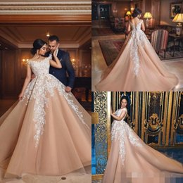 Vintage Wedding Dress Tulle Shoulder Wrap NZ - Elegant Ball Gown Champagne Arabic Wedding Dresses Sexy Off The Shoulder Appliques Lace Organza Tulle Bridal Gowns Lace Up Plus Size Corset.