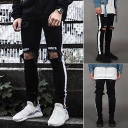 Discount white punk pants - Men's Jeans Pants Men's Punk Casual Skinny White Side Jeans Hip Hop Broken Zipper Nightclub Pants Korean Stree