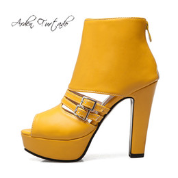 open toe platform ankle boots 2021 - Arden Furtado Summer Fashion Women's Shoes Chunky Heels Zipper Sexy Elegant Ladies Boots platform peep toe yellow w