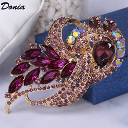 Peacock rhinestone brooch online shopping - Donia jewelry European and American popular Brooch peacock big glass birthday Brooch gift Brooch coat scarf accessories