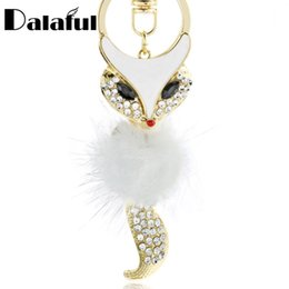 Chain Hot Boys UK - Cute Fox Fur Key Chains Rings Crystal Hot Sale Bag Pendant Anime Keyrings KeyChains For Women Keyholder For Car K384