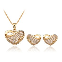 Discount gold set jewelry for children - HC Fashion Heart Pendant Necklace Stud Earrings Set Jewelry for Girl Kids Party Gift Vintage Crystal Gold Silver Childre