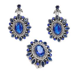 $enCountryForm.capitalKeyWord Australia - Luxury Big Blue Crystal Flower 2pc set Wedding Jewelry Set Silver Color Vintage Royal Crystal Ring Earring Set Turkish Jewelry