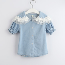jeans shorts shirt girls NZ - New Summer Baby Girls Denim Shirt Kids Short Sleeve Lace Flowers Collar Jeans Shirt Children Casual Shirts 4790