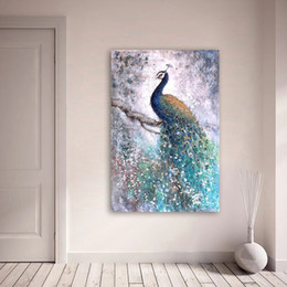 peacock canvas prints Canada - 1Pcs Wall Art Decor Oil Painting on Canvas Animal Peacock Paintings for Living Room Home Decor No Frame