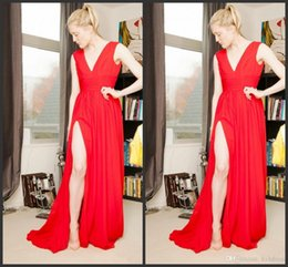 Red Dress Skirt Cheap Australia - 2019 New Red Evening Dresses Deep V-Neck Sweep Train Piping Side Split Modern Long Skirt Cheap Transparent Prom Formal Gowns Pageant Dress