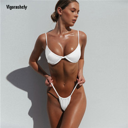 f1480dd513 Sexy White Unerwire Bikini 2019 String Thong Swimsuit Women Push Up Swimwear  Summer BeachWear Solid High Cut Bikini Bathing Suit