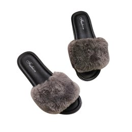 9019d20d012 PADEGAO Winter Open Toe Faux Fur Fluffy Slides for Women Fashion Comfy Soft Fur  Slippers Casual Rome Retro Warm House Shoes