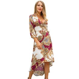 generations clothing 2019 - women designer maxi dresses clothes dresses Sexy short dress women jumpsuit spring new seven-point sleeve printing V-nec