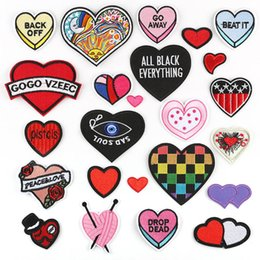 ironing sticker clothes Australia - Red Heart Love Embroidery Patches For Clothes Black Heart Eye Sewing Iron On Patch Fabric Applique DIY Badge Stickers 24pcs Per Lot