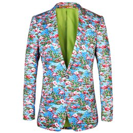 $enCountryForm.capitalKeyWord Australia - Casual men suit jacket blazer 2019 New brand blazer Flamingo pattern printing design blazers flowers Mens Plus Size Jacket