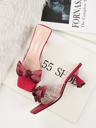 women cooling glasses Australia - Hot2019 Square High-heeled Shoes Gradual Change Bow Sexy Woman Sandals Wine Glass With Transparent Cool Slipper
