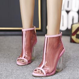 a2282219 PVC Transparente Mujer Sandalias Botas Peep Toe Jelly Boots Zapatos Mujer  Tacones Altos Volver Cremallera Rosa Sólido Tobillo Botas cortas