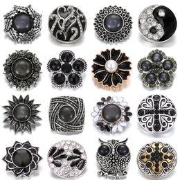 $enCountryForm.capitalKeyWord Australia - New Noosa Jewelry Black Flower 18mm Snap Buttons Fashion Pierced Crystal Metal Ginger Clasps DIY Noosa Button Jewelry Accessories