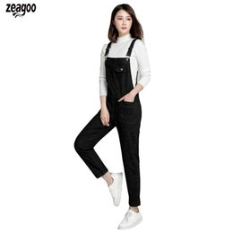 b4796760cad Fashion Women Large Size Loose Jeans Overalls Jumpsuit Pocket Suspenders  High Waist Ankle length Casual Solid