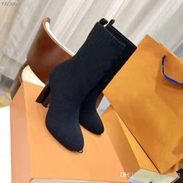 Knit Boots Australia - 10cm High Heels Knit Sock Boots Fashion Brand Designer Womens Evening Party Boot With Original Box