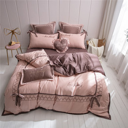 $enCountryForm.capitalKeyWord Australia - Free shipping 4PCS Bedding Sets sheet Autumn Winter thickening 100% Cotton Grinding suit Pink gray Bedding artic