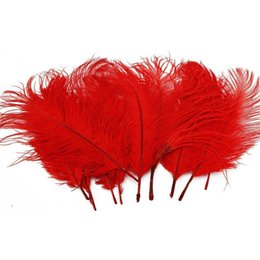 Wholesale 100pcs lot 14-16inch(35-40cm) Red ostrich feathers plumes for wedding centerpieces Home party supply Decor z134 from black turkeys suppliers