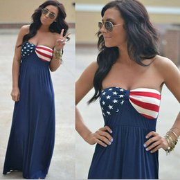 American Flag Dress Xl Australia - Womens American Flag Dress Stars Striped Strapless Printed Sleeveless Boho Long Maxi Evening Beach 4th Of July Sundress LJJA2392