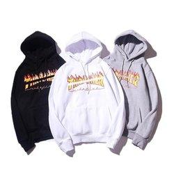 Flame print online shopping - AW mens designer hoodie Printed flame plus velvet hoodies Thrashers brand fashion women sweatshirt couple street hot pullover wild sweater