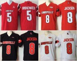 Ingrosso Cheap Mens Università di Louisville il cardinale ha cucito 8 Lamar Jackson 5 Bridgewater Rosso Nero Bianco Calcio Maglie