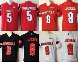 Vente en gros Hommes pas cher College Louisville Cardinal Cousu 8 Lamar Jackson 5 Bridgewater Noir Blanc Rouge Maillots de football
