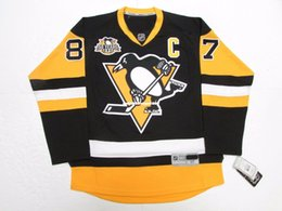 01d02d09b Cheap custom SIDNEY CROSBY PITTSBURGH PENGUINS HOME 50th ANNIVERSARY PREMIER  JERSEY stitch add any number any name Mens Hockey Jersey XS-6XL