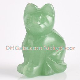 "$enCountryForm.capitalKeyWord Australia - 10Pcs Hand Carved Gemstone Crystal Cat Totem Natural Green Aventurine Fortune Lucky Cat Figurine 1.5"" 2"" Tiny Jade Gem Stone Cat Sculpture"