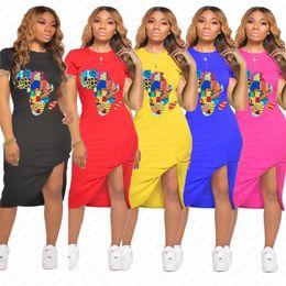Wholesale round pattern dress resale online – Women Summer Split Dress Designer Map Pattern Fashion Dresses Sexy Bodycon Dresses Pleated Beach Casual Short Sleeve Dress Clothes D7108