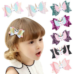 baby sequin hair clips wholesale Canada - 8styles Elk Unicorn Clips Sequin Glitter Baby Girls Hair Bow Hairpin Girls Bowknot Barrette Kids Hair Boutique Bows Children gift H414