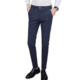 70424d3f1e406 Men s trousers fashion city polished solid color straight slim trousers  quality business suit pants Slim large size 5 colors