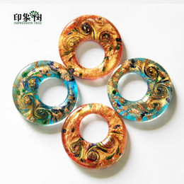 Gold Sand Lampwork Wholesale Australia - 46x9mm Handmade Ethnic Round Hollow Lampwork Beads Gold Sands Big Hole Glass Pendant Blue Red DIY Jewelry Making 1623