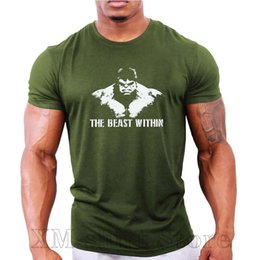 hulk printed t shirts Canada - The Beast Within Hulk Mens Bodybuilding T-Shirt Gym Workout Fitness 100% cotton funny print tshirt men women shirts