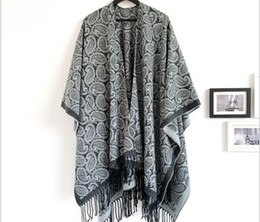 cashew cotton shawls NZ - Winter cashew flower forked shawl imitation cashmere black gray large jacquard cashew flower tassel increase shawl 180x130cm