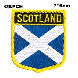 SCOTLAND BLU Flag Ricamo Ferro su Patch Ricamo Patch Badge per Abbigliamento PT0241-S