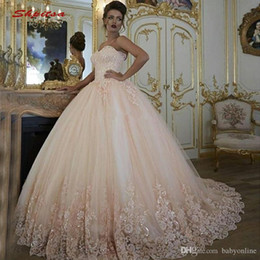 $enCountryForm.capitalKeyWord Australia - Dubai Arabic Blush Pink Ball Gown Wedding Dresses Sweetheart Puffy Ruched Appliques Sequined Long Wedding Dress Bridal Gown for Woman